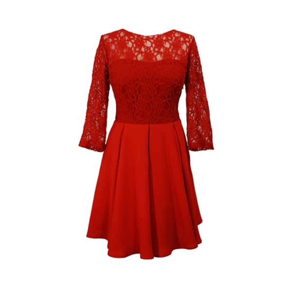 LAUREN LYNN LONDON The Helena Mini Dress Lace 3/4 Sleeve Short Dres2