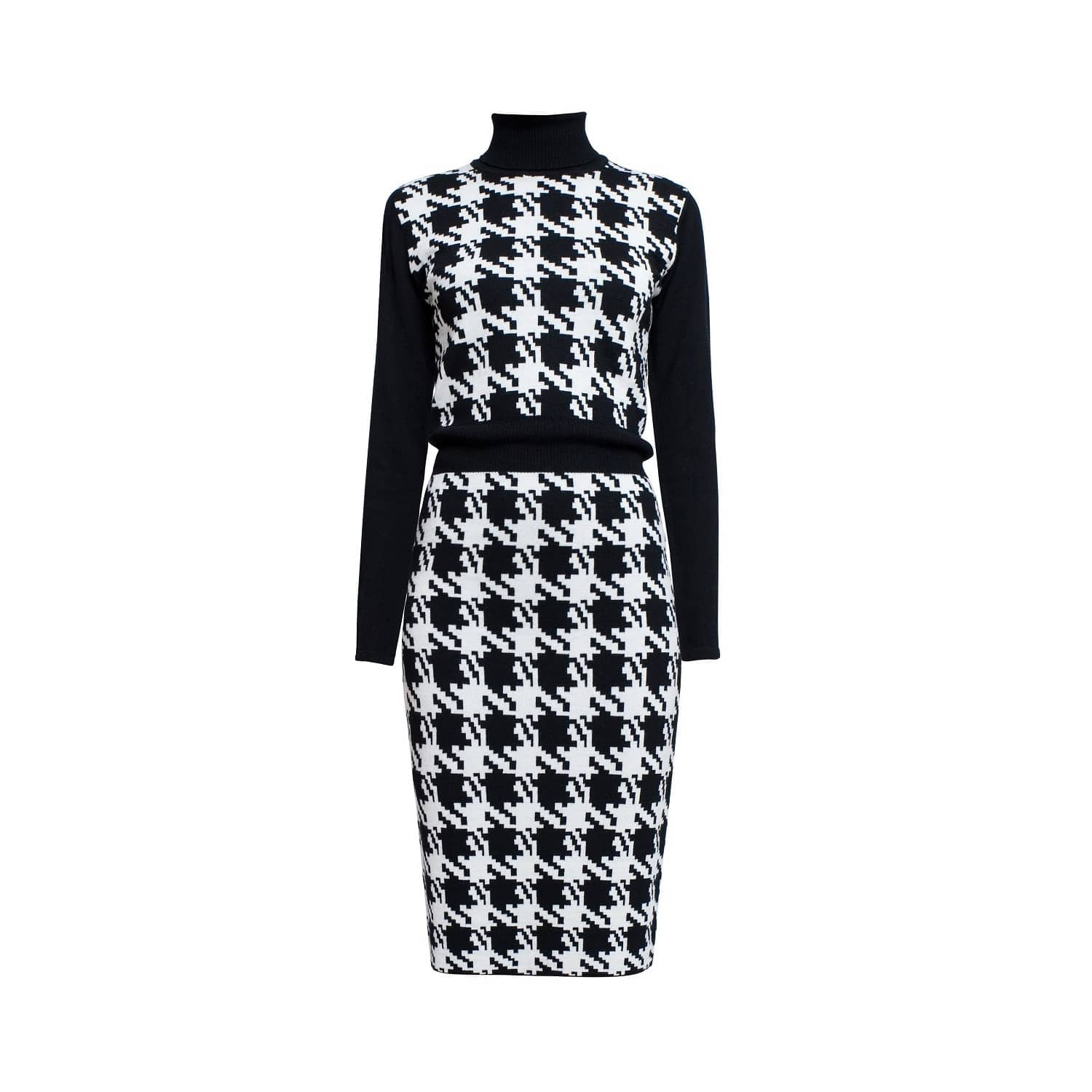 cfb46117d0dc6 Lina Houndstooth Merino Wool Knitted Dress image