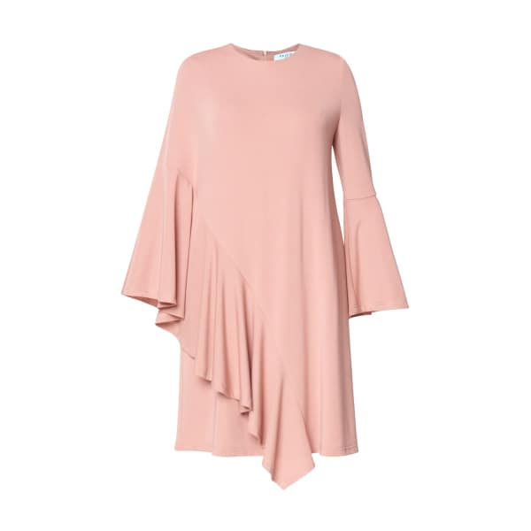 PAISIE Round Neck Dress With Asymmetric Side Frill Overlay In Blush