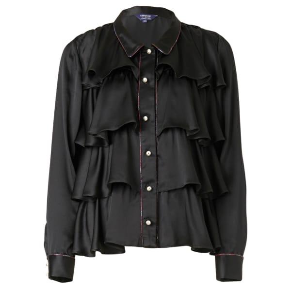 SUPERSWEET X MOUMI Black Silk Tiered Shirt