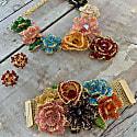 Multicolored Hand Made Crochet Flower Bib Necklace image