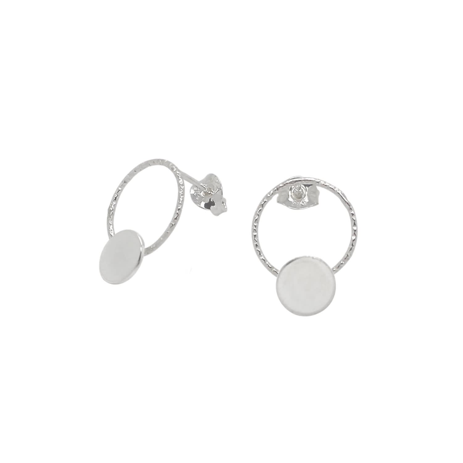 4e0d2a66faa91 Large Circle & Disc Stud Earrings Sterling Silver by Lucy Ashton Jewellery