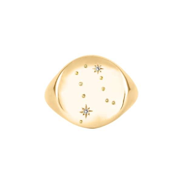 NO 13 Gemini Constellation Signet Ring Diamonds & 9ct Gold