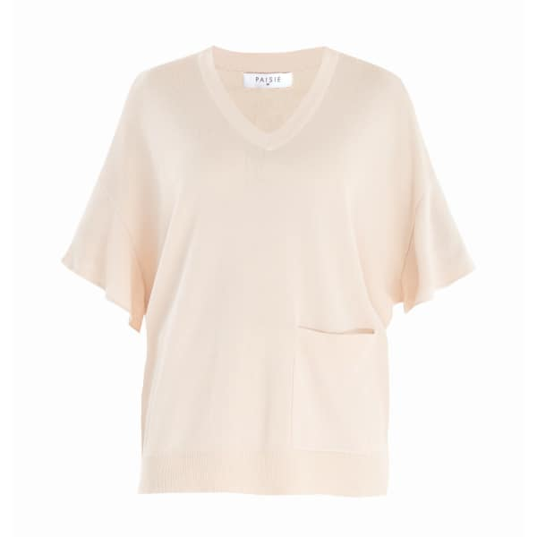 Paisie Beige Knitted V-Neck Top With Frill Sleeves & Front Pocket