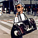 Leather Columbus Duffle Bag In Black & White Animal Print Pony Hair image