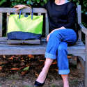 London Fold Up Leather Tote Bag Neon image