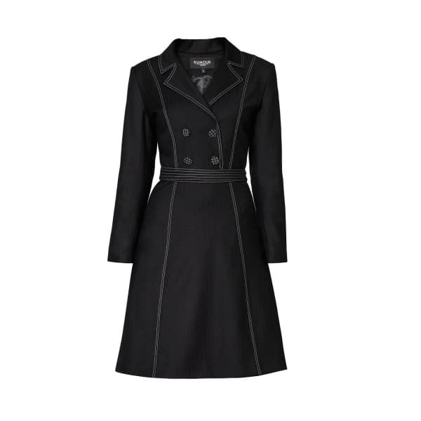 RUMOUR LONDON Annabel Virgin Wool Dress with Pleated Back & Contrasting Stitching