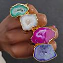 Teal Green Mega Gemstone Gold Statement Ring image