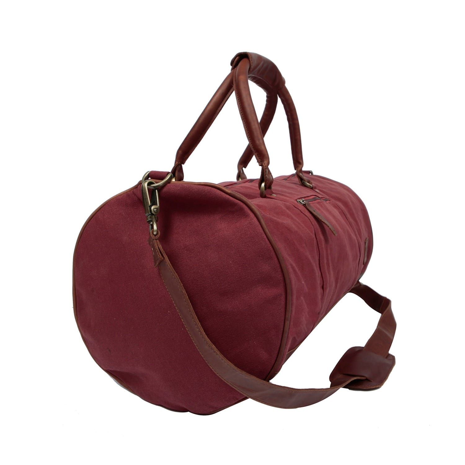 5c50d06f462f Leather Classic Duffle Overnight Gym Bag in Red Canvas image