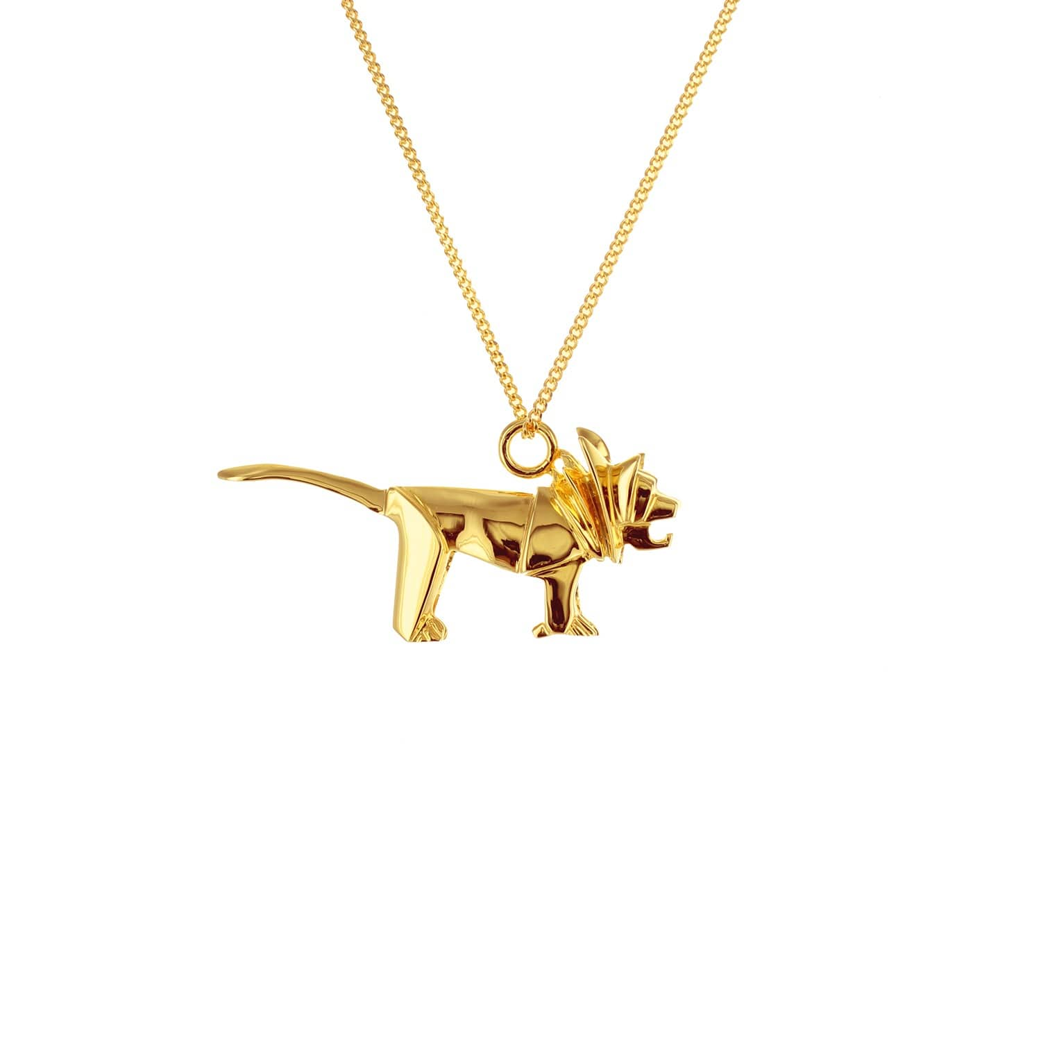 Origami Jewellery Sterling Silver & Gold Mini Lion Origami Necklace xoKNxcg