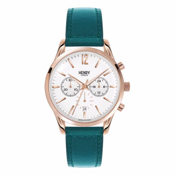 HENRY LONDON Ladies 39Mm Stratford Chronograph Leather Watch