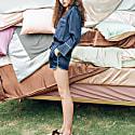 Women'S 3-Piece Classic Silk Pajamas Set - Navy image