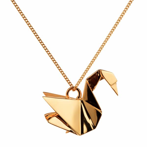 swan necklace gold origami jewellery wolf amp badger