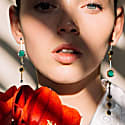 Mod.836 Green Malachite & Silver Gold Statement Earring image