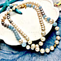 Round Freshwater Pearls With Aquamarines Long Necklace image