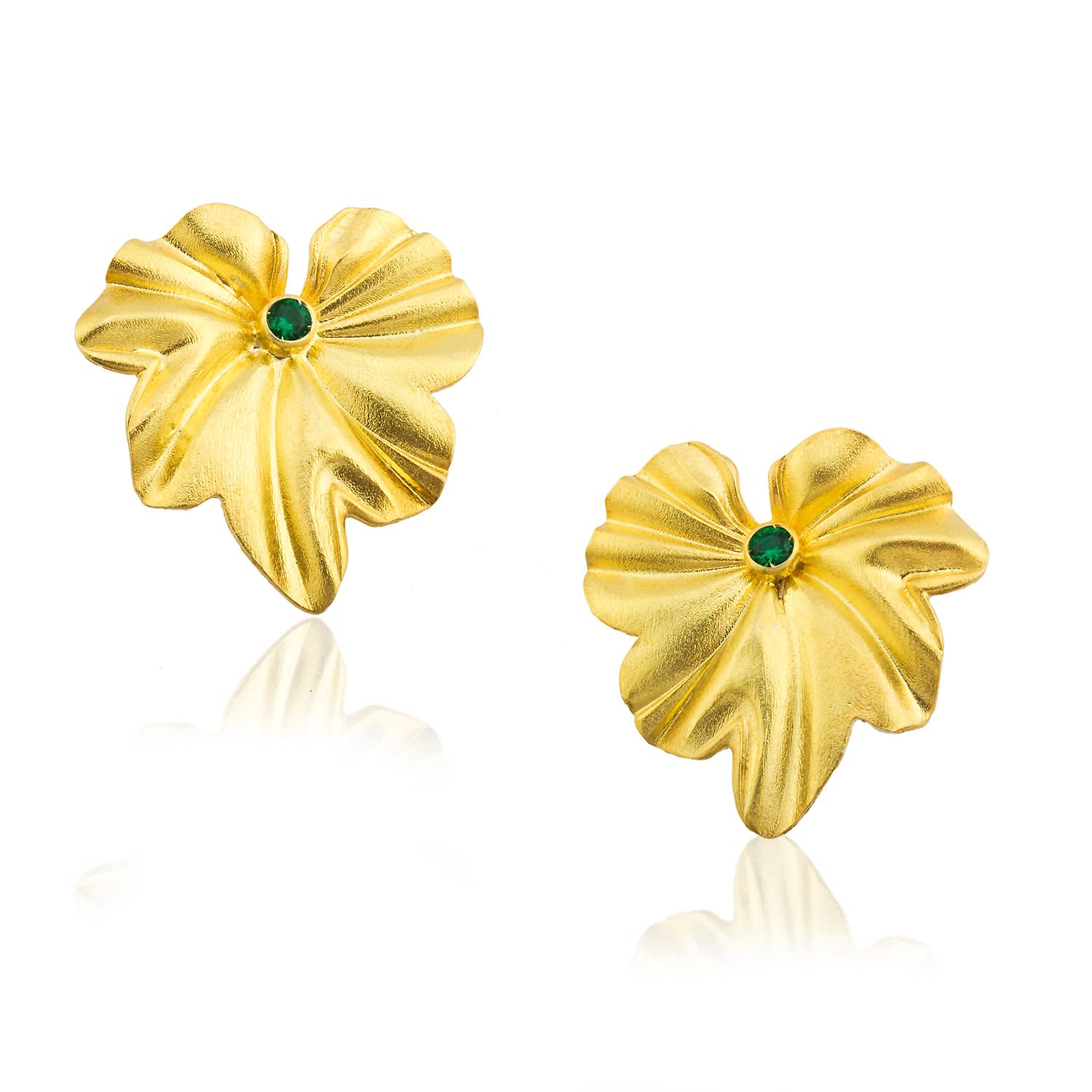 22K Yellow Gold plated LEAF long earrings