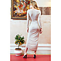 Bianca Nude Plunge Front Knot Maxi Dress image