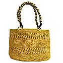Meva Yellow Raffia Tote Bag image