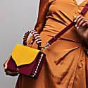 Celina Yellow & Oxblood Red Top Handle Bag With Interchangeable Oxblood & Nude Braided Handle image