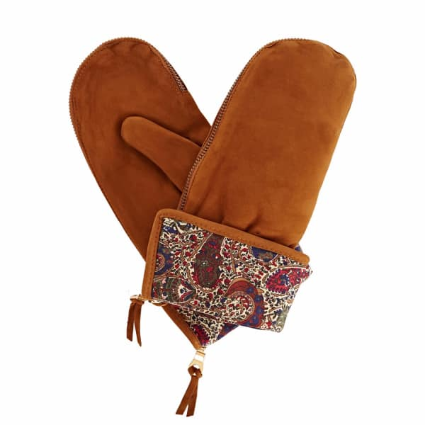Psyche Tan Brown Nubuk Suede Gloves With Bm Liberty Tana Lawn