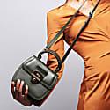 Grace Kale Green Top Handle Handbag With Interchangeable Orange Braided Handle image