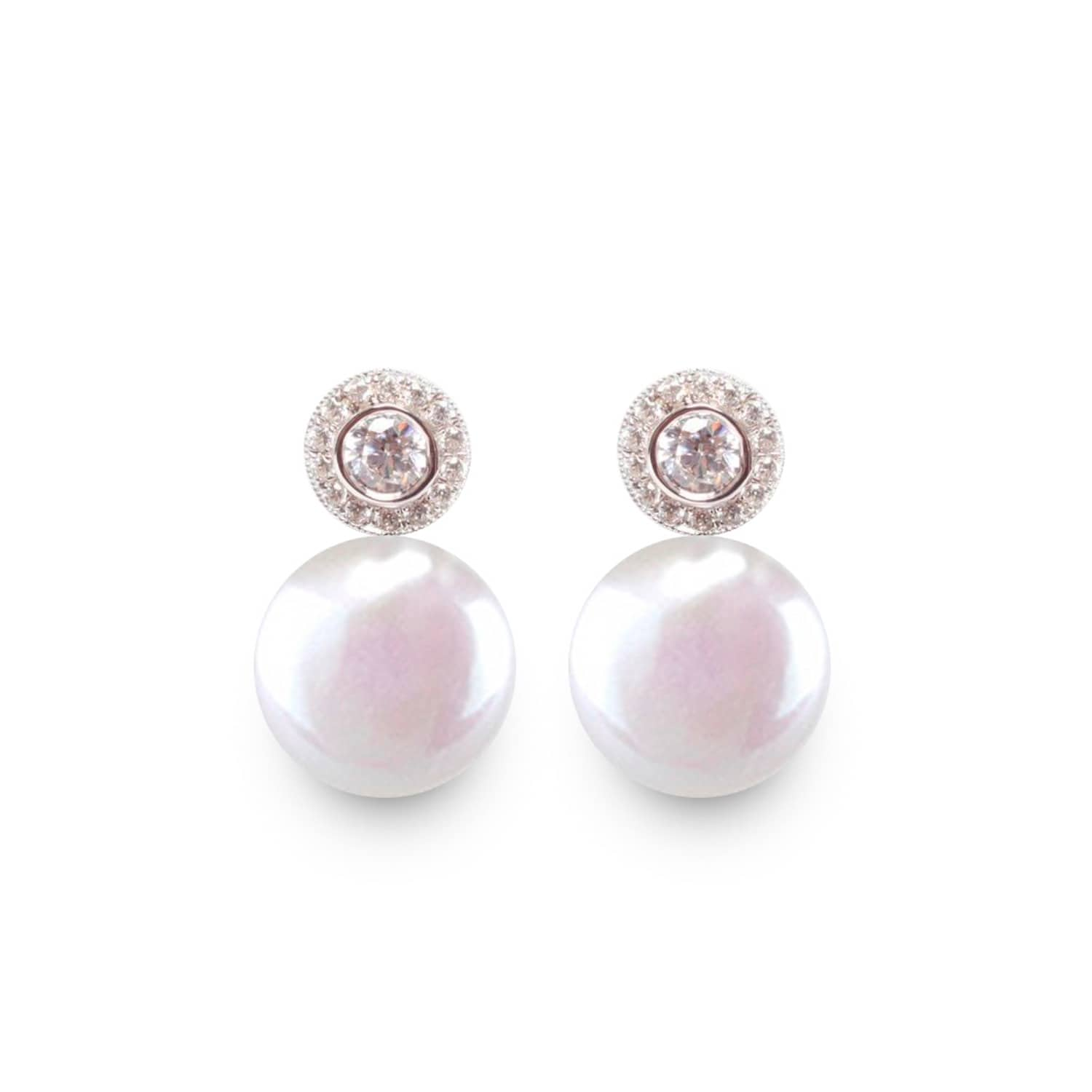 ORA Pearls Sterling Silver Halo White Pearl Coin Earrings aZLfPxqU