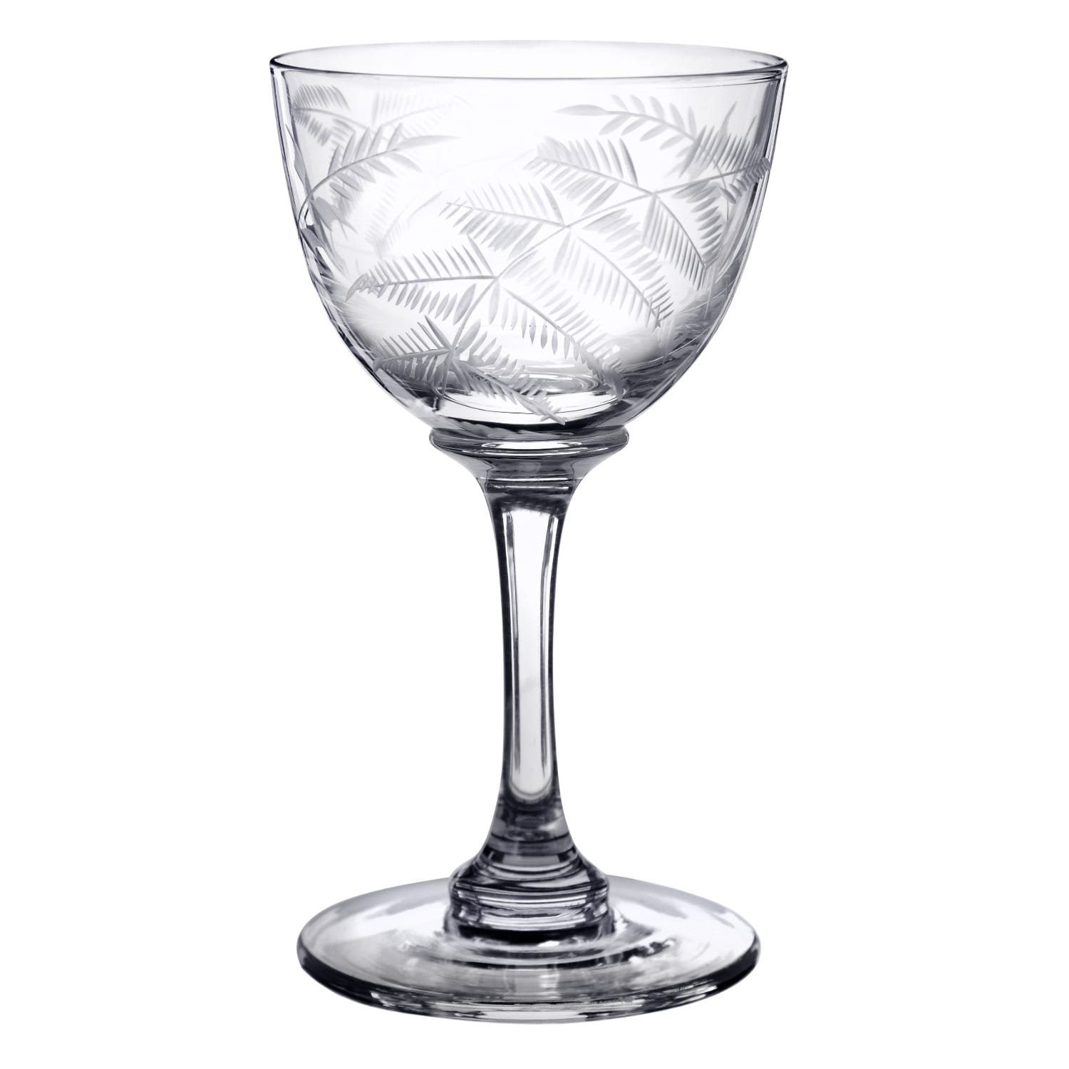 The Vintage List - Six Hand-Engraved Crystal Liqueur Glasses With Ferns Design