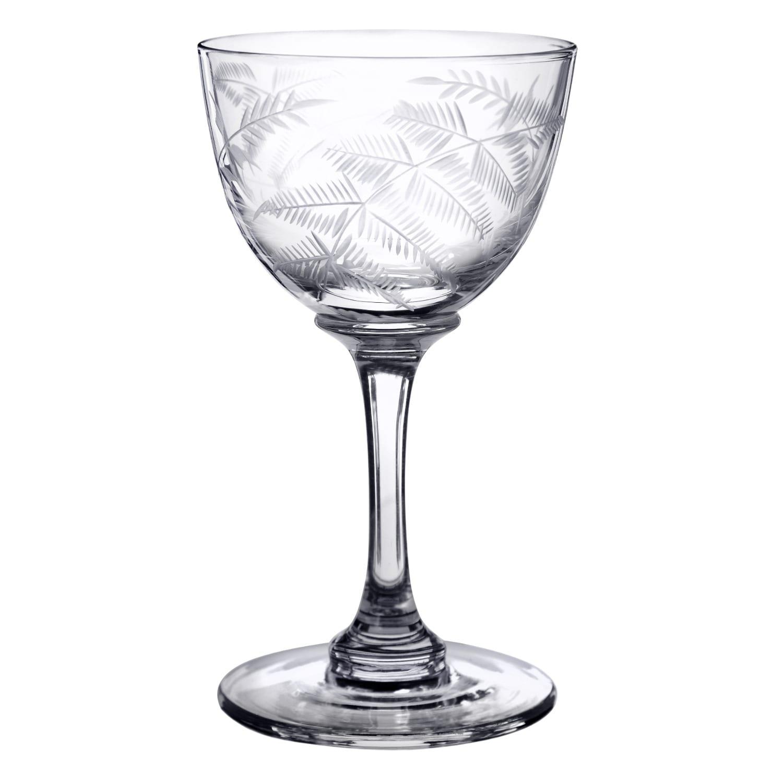 The Vintage List - Six Hand-Engraved Crystal Liqueur Glasses With Ferns Design