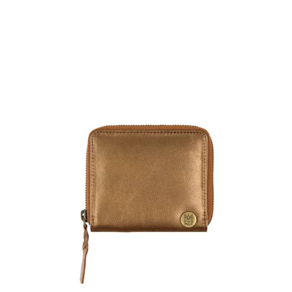 MAHI LEATHER Classic Ladies Coin Purse In Metallic Bronze Leather