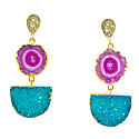 Violet Turquoise Gemstone Gold Statement Earrings image