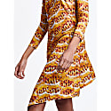 Orange Print Long Sleeve Asymmetric Dress image