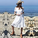 White Embroidery Dress With Pompon Details image