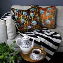 Coral Odyssey Black Velvet Cushion image