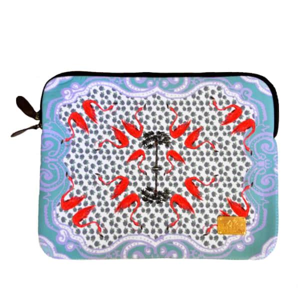 Flamingo Pop Laptop Bag With Velvet Lining