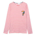 Toucan Patch Long-Sleeved T-Shirt - Red and White image