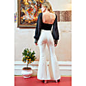 Callie Ivory High Waisted Stripe Flared Trousers image