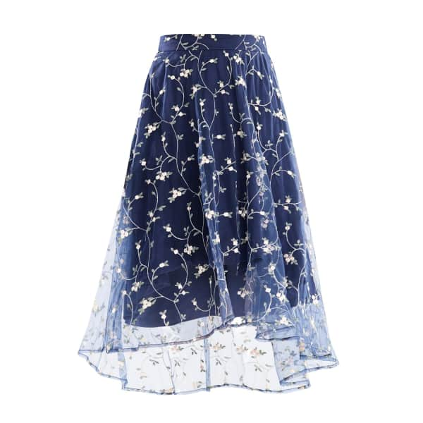 Midi Skirt with Embroidered Floral Tulle Overlay & Dip Hem