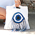 Evil Eye Crochet Bag In White image