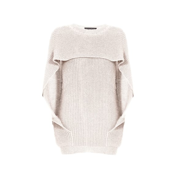 RUMOUR LONDON Cara Cape Effect Merino Wool Ribbed Knit Sweater In Cream