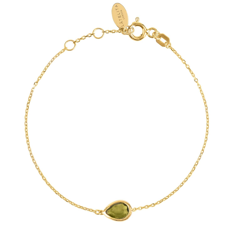 Latelita London Pisa Mini Teardrop Bracelet Gold Peridot thaa3