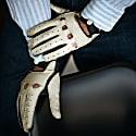 Rome - Men'S Deerskin Driving Gloves In Creme & Blue Colour image