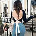 Organic Cotton Navy Backless Jumper With White Bow image