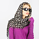 Kitty Large Leopard Print Cashmere Scarf In Grey image