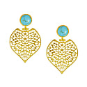Aralia Filigree Leaf Turquoise Earrings image