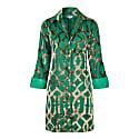 Amanda Silk Velvet Shirt Green Trellis image
