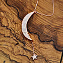 Large Moon & Star Necklace Rosegold White Cz image
