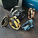 Black Leather Wrap Tarmac Bracelet With Black Studs image