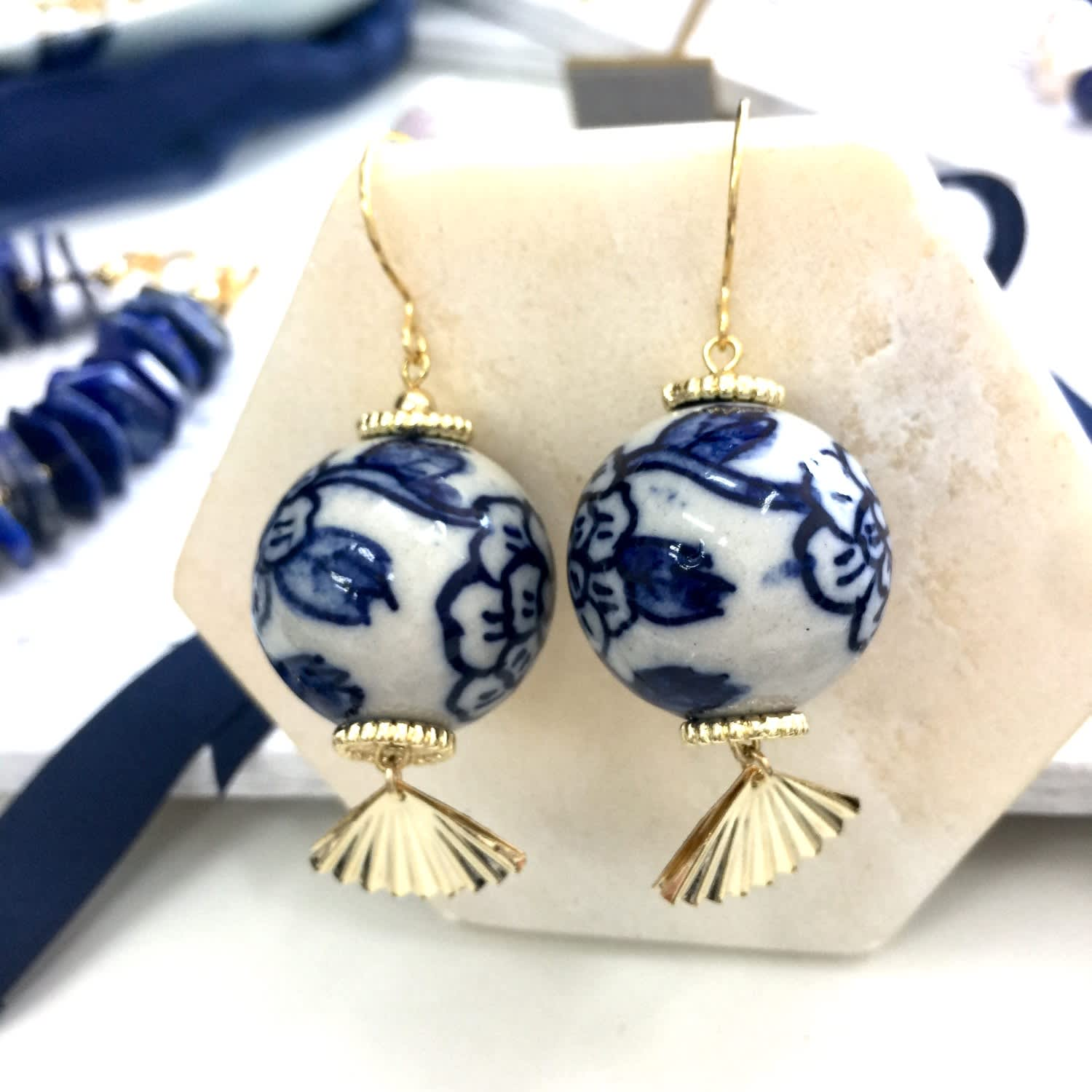 Blue and White Floral Ceramic Earrings