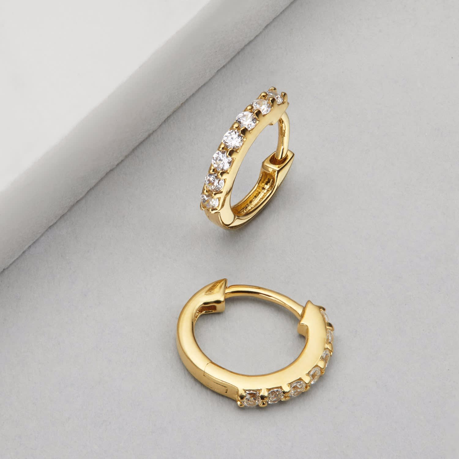 d511de5cc Small Gold Diamond Style Huggie Hoop Earrings | Lily & Roo | Wolf ...