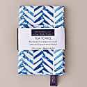 Herringbone Cotton Tea Towel - Blue & White image